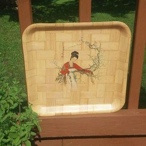Vintage Asian Bamboo Tray